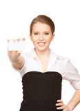 Woman with business card Stock Images