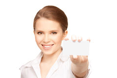 Woman with business card Royalty Free Stock Photography