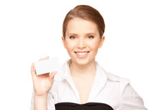 Woman with business card Stock Image