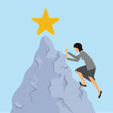 Woman in business clothes climbs on the rock to the mountain top. Reaching the goal concept, vector illustration. Royalty Free Stock Photography