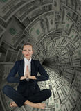 The woman in business concept with dollar whirlpool Stock Photography
