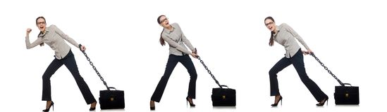 The woman in business concept isolated on white stock photography