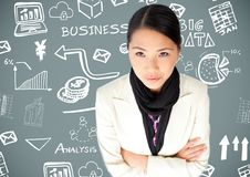 Woman with Business graphics drawings Stock Photos
