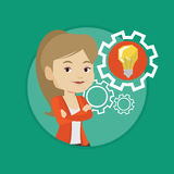 Woman with business idea bulb in gear. Stock Images