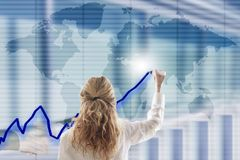 Woman with business interface Stock Photo
