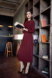 Woman business lady wear red wool dress suit fashion style Royalty Free Stock Photo