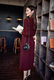 Woman business lady wear red wool dress suit fashion style Royalty Free Stock Photos