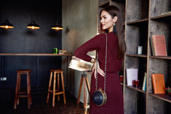 Woman business lady wear red wool dress suit fashion style Stock Images