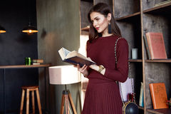 Woman business lady wear red wool dress suit fashion style Stock Photos