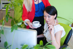 Woman business office coffee break Royalty Free Stock Image