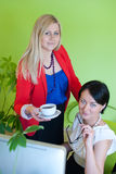 Woman business office coffee break Stock Images