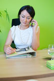 Woman business office speak phone Royalty Free Stock Photos