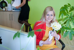 Woman business office work manager flower Stock Image