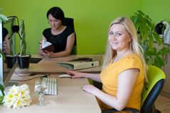 Woman business office work. Two happy worker Stock Photo