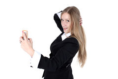 Woman in business outfit take a self portrait Royalty Free Stock Photo