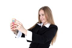 Woman in business outfit take a self portrait Stock Photo