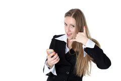 Woman in business outfit talking to mobile Stock Images