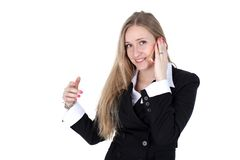 Woman in business outfit talking to mobile Royalty Free Stock Photos