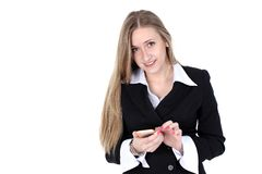 Woman in business outfit talking to mobile Royalty Free Stock Photography