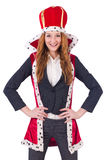 Woman business posing as queen isolated Royalty Free Stock Images
