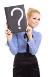 Woman business problems mark question Stock Photos