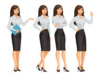 Woman in business style. Style brunette girl in different poses. Woman in business style. Elegant brunette girl in different poses. Consultant or secretary Stock Image
