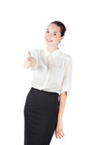 Woman in business style keeps finger up Royalty Free Stock Photos
