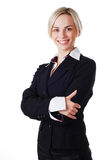 Woman in business suit. Beautiful blond woman in business suit on white background Royalty Free Stock Photos