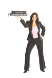 Woman in business suit holding pizzas Stock Image