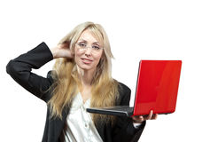 The woman in a business suit with the laptop Royalty Free Stock Photos