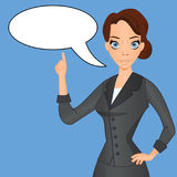 Woman in business suit with speech bubble stock illustration