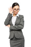 Woman in Business Suit Wearing Glasses Royalty Free Stock Images