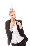 Woman in business suit wearing party favors Stock Photo