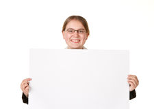 Woman in a business suit with a white sign Royalty Free Stock Image