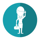Woman business with suitcase talk cellphone shadow Stock Photos