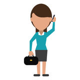 Woman business with suitcase talk cellphone Stock Image