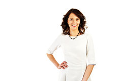 Woman in business uniform on white background with big smile Royalty Free Stock Image