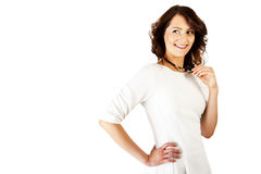 Woman in business uniform on white background with big smile Royalty Free Stock Photography