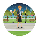 Woman business walk park view night. Illustration eps 10 Stock Images
