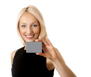 Woman with businesscard Stock Photography