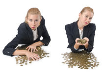 The woman businessman with coins on white Stock Images