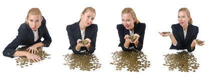 The woman businessman with coins on white Royalty Free Stock Photos
