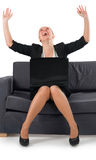 The woman the businessman rejoices to success Royalty Free Stock Image