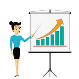 Woman businessman showing on the board financial graph of growth. Profit. Stock Vector cartoon illustration Royalty Free Stock Photos