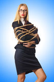 Woman businessman tied Royalty Free Stock Image