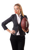 The woman businesswoman with american football Royalty Free Stock Photo