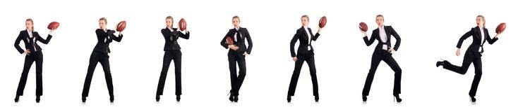 The woman businesswoman with american football Stock Images
