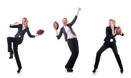 The woman businesswoman with american football Royalty Free Stock Images