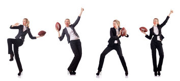 The woman businesswoman with american football Stock Image