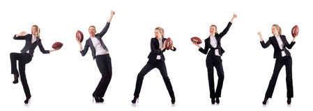 The woman businesswoman with american football Stock Photography